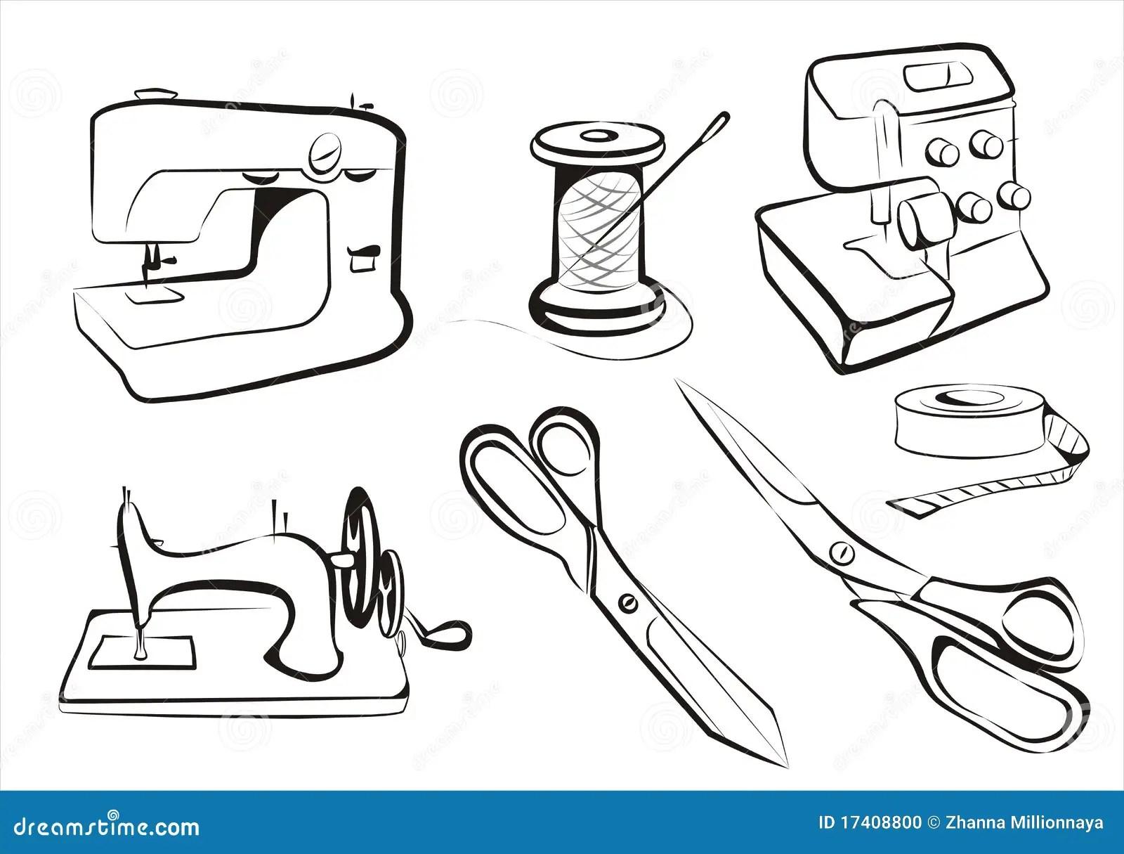 Conjunto de costura ilustración del vector. Ilustración de