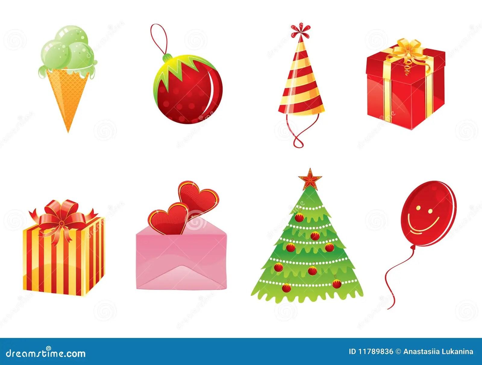 Conjunto De Objetos De La Navidad Imagen De Archivo Libre