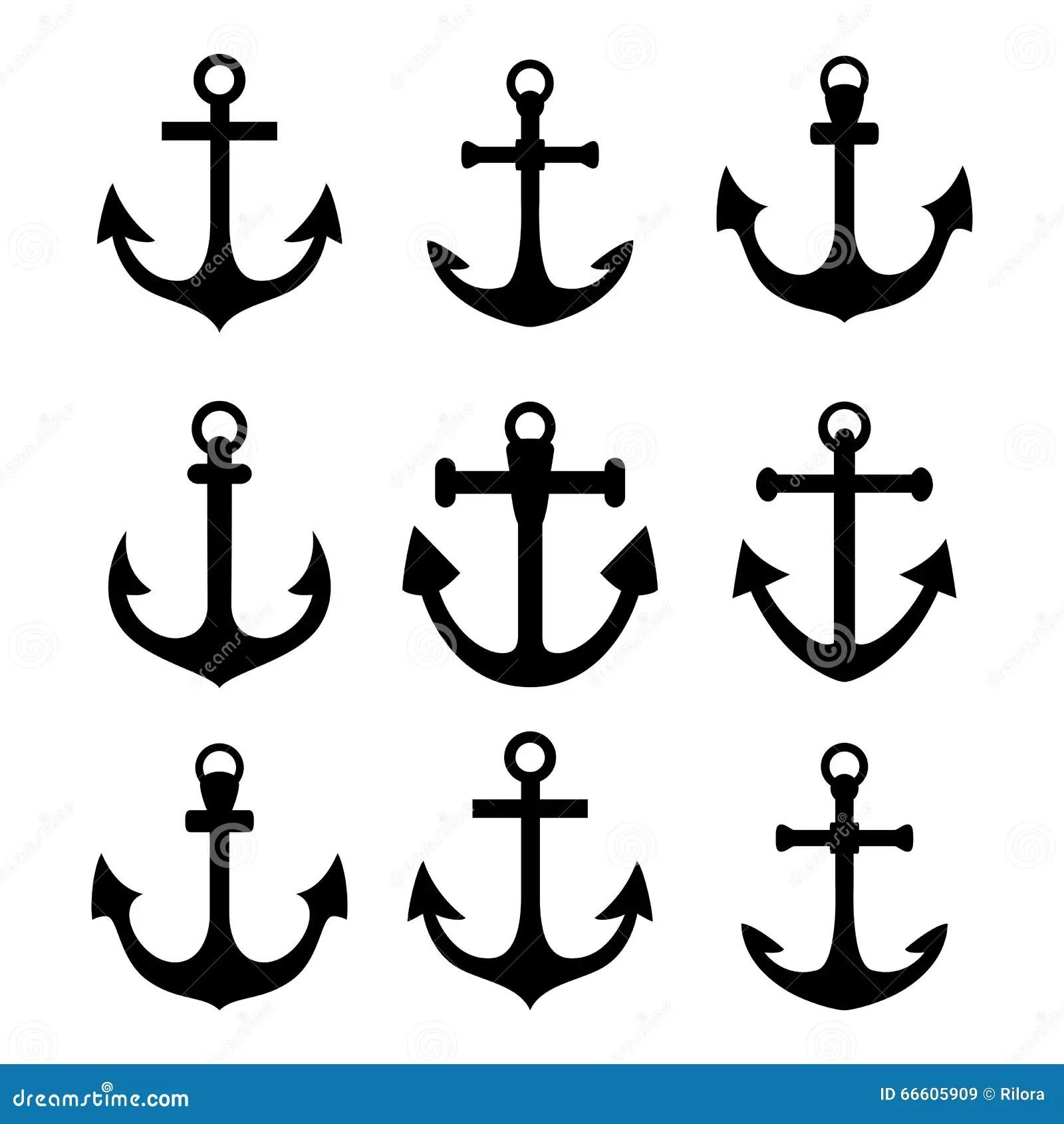 Conjunto De Simbolos Del Ancla Ilustracion Del Vector