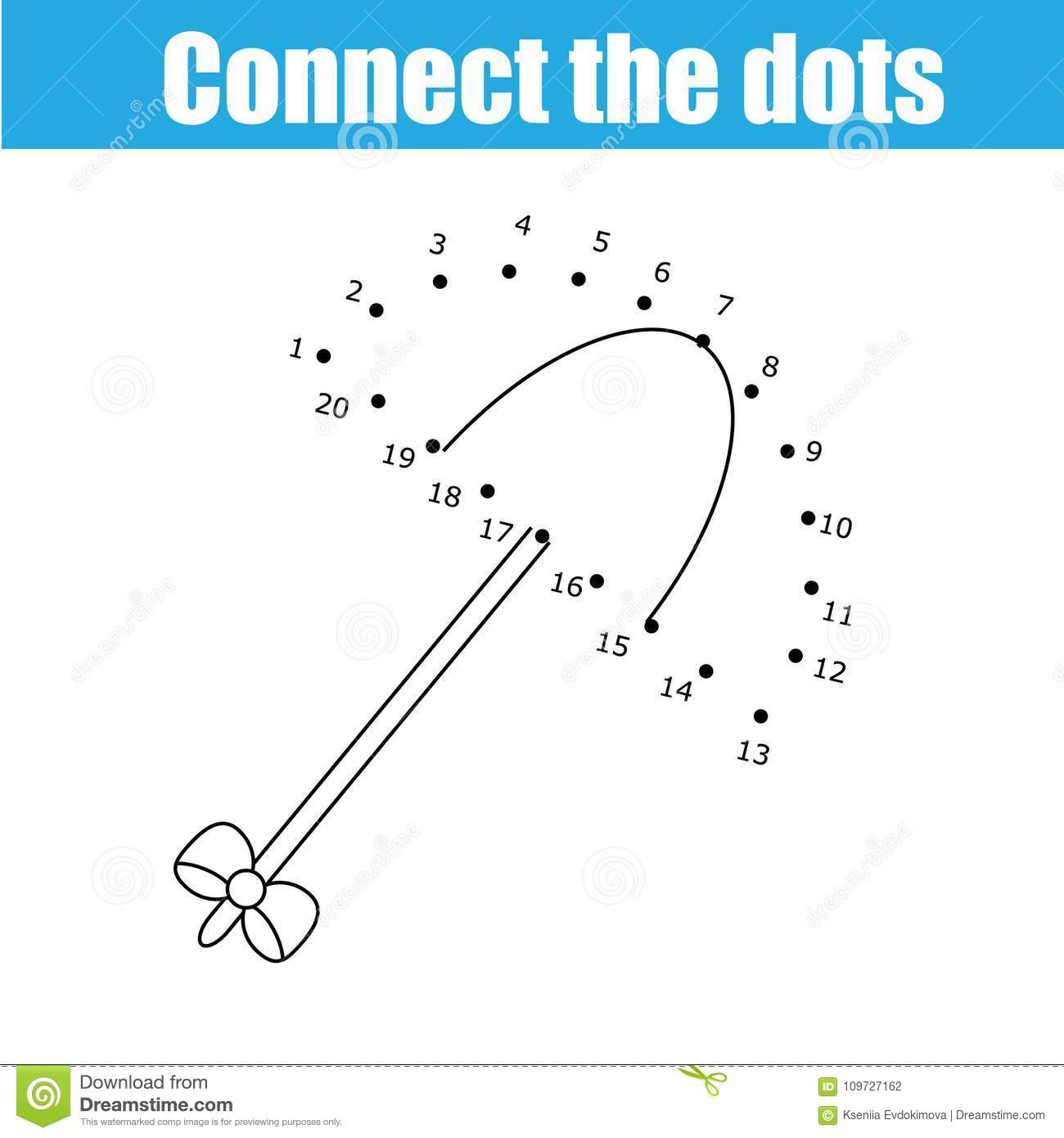 Connect The Dots By Numbers Children Educational Game Printable Worksheet Activity Umbrella