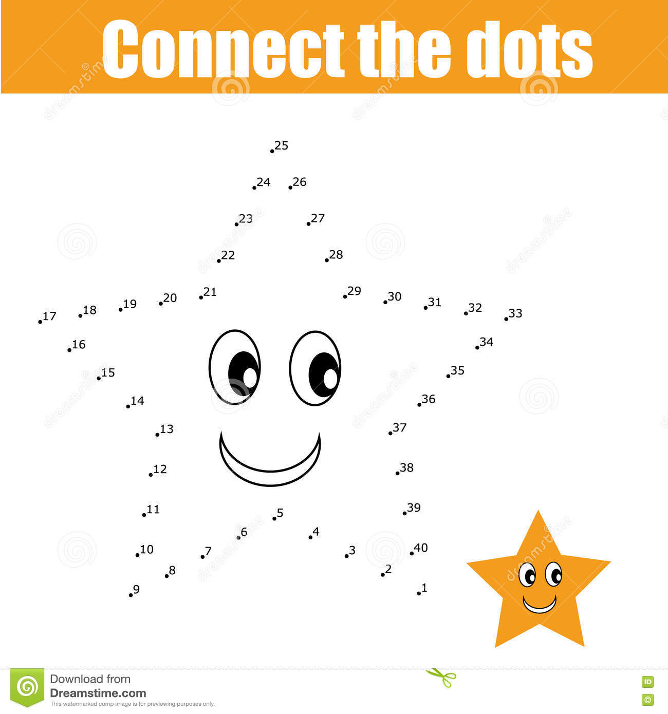 Connect The Dots Children Game Stock Vector