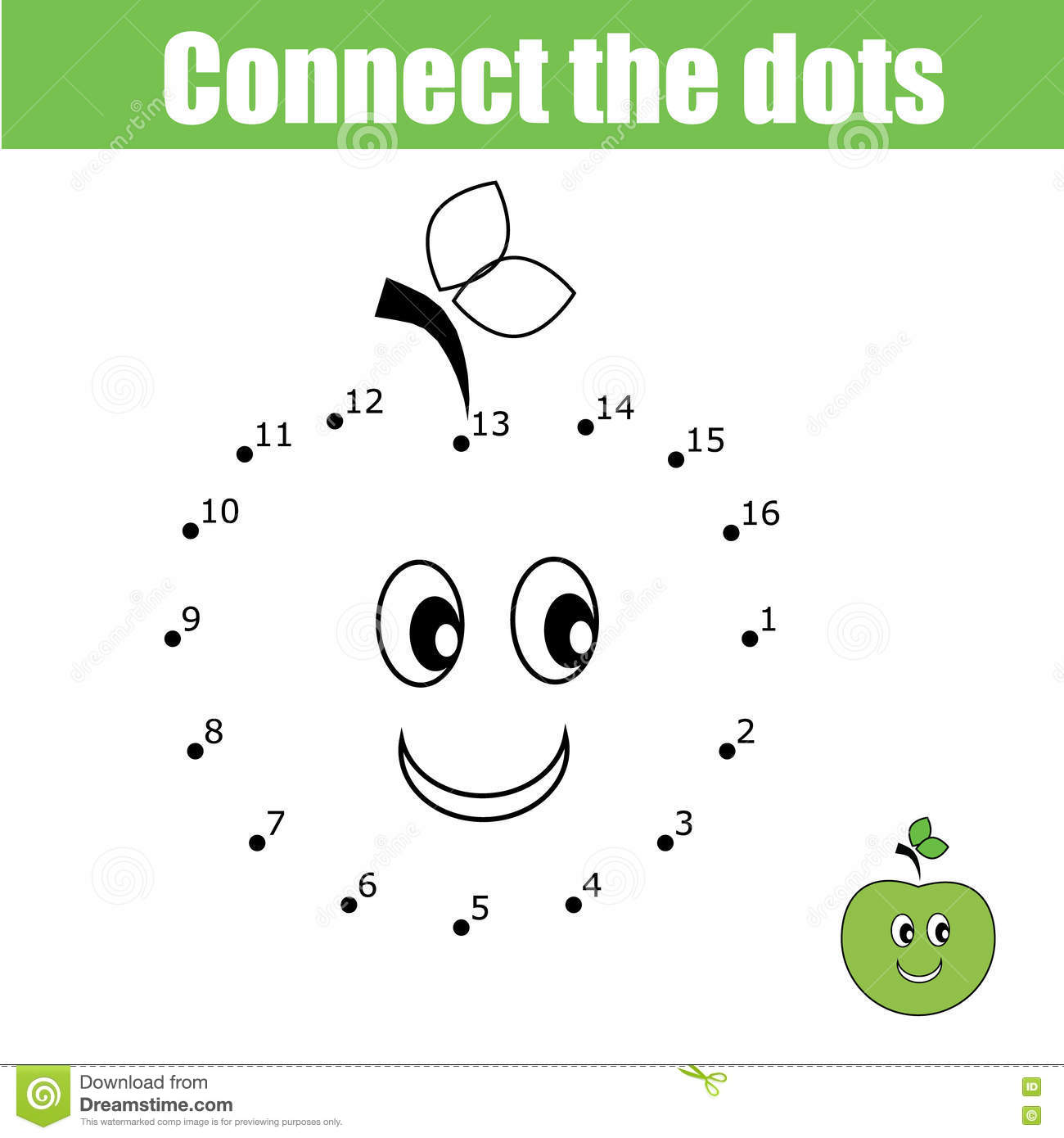 Connect The Dots Children Game Numbers Game Stock Vector