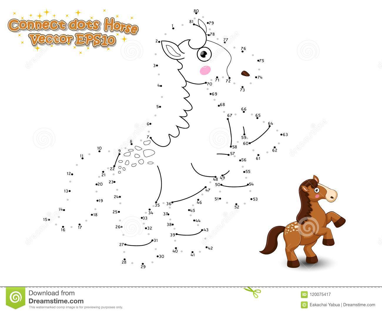 Connect The Dots And Draw Cute Cartoon Horse Educational
