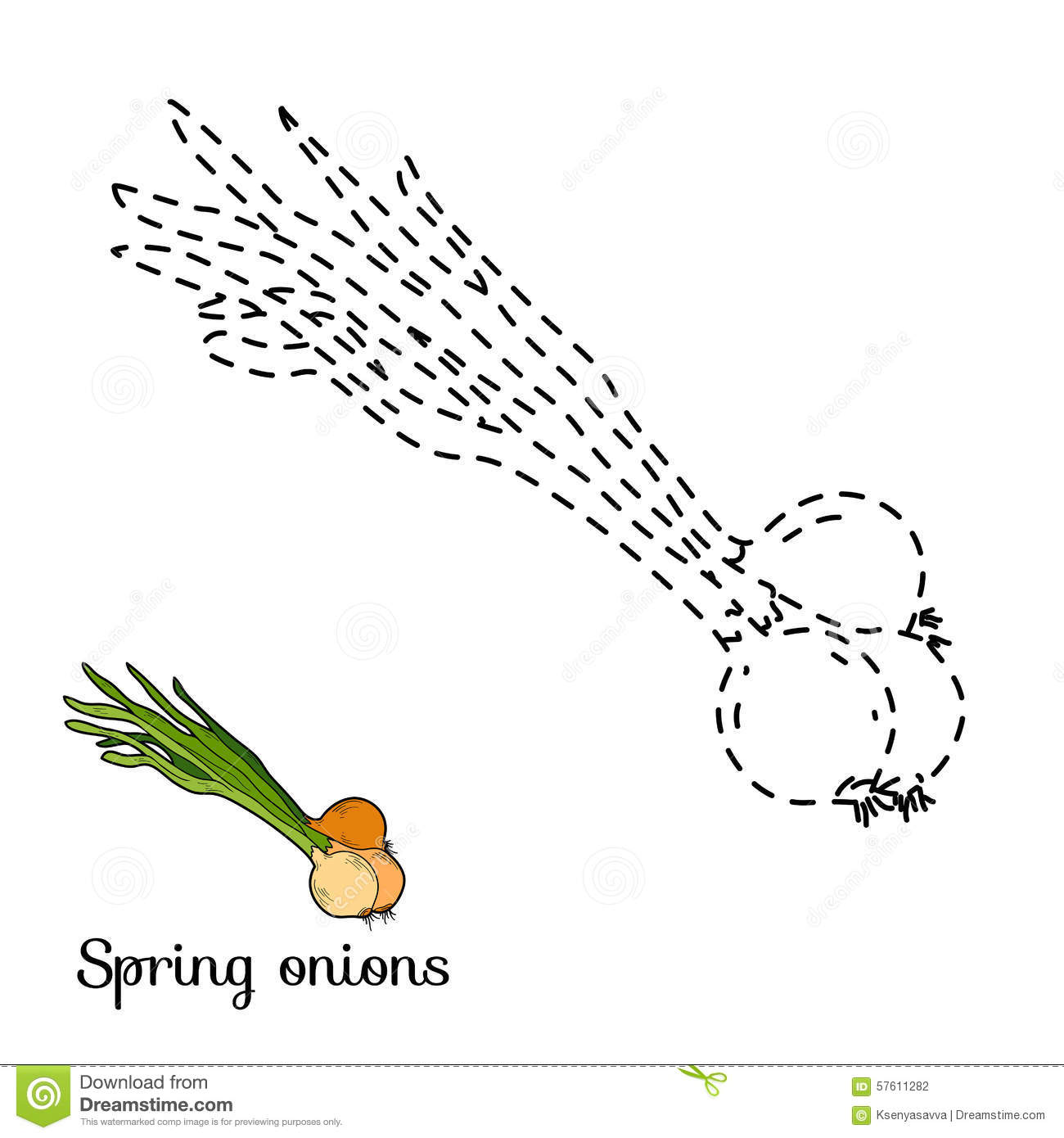 Connect The Dots Game: Fruits And Vegetables (spring Onion