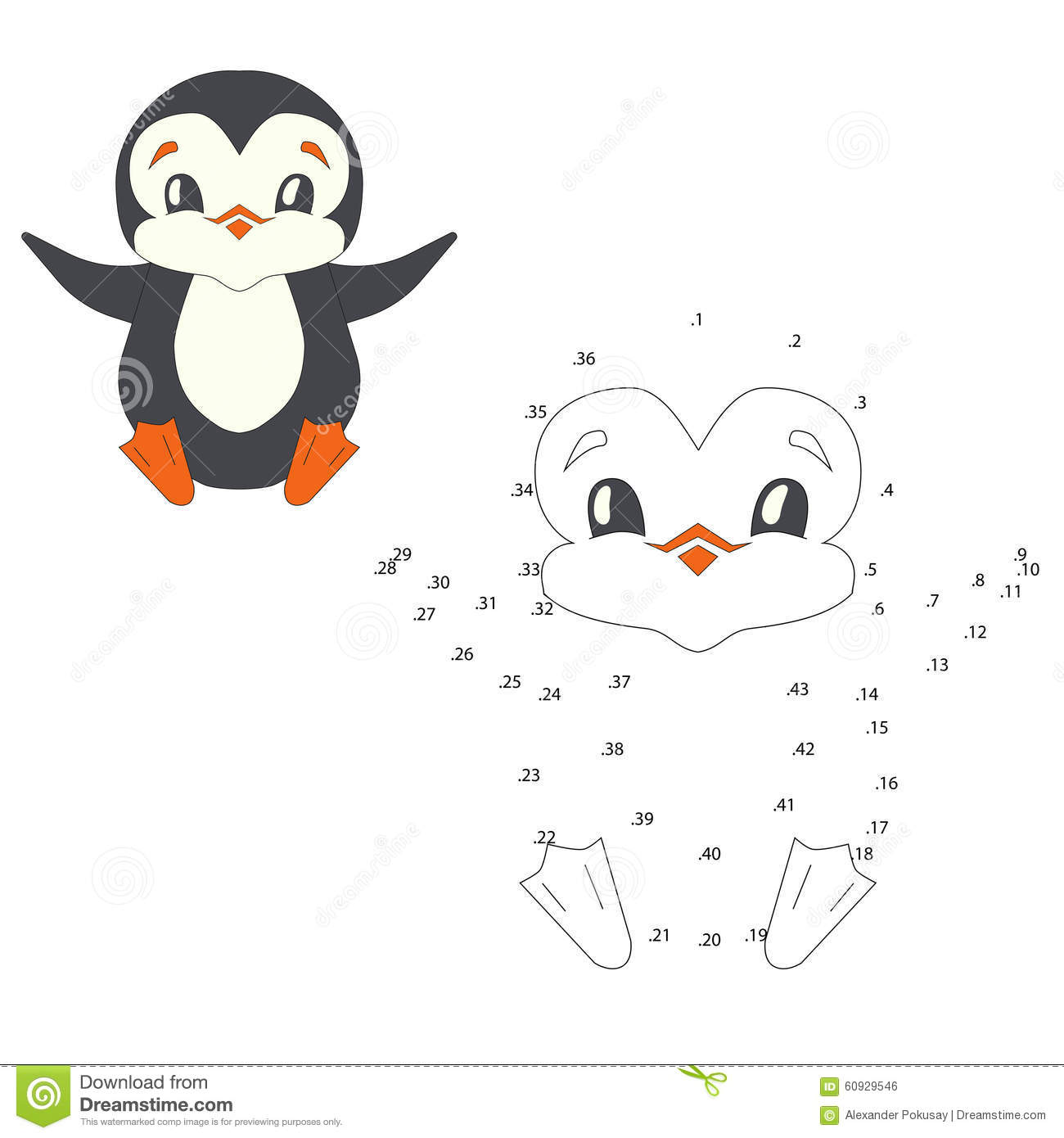 Connect The Dots Game Penguin Vector Illustration Stock