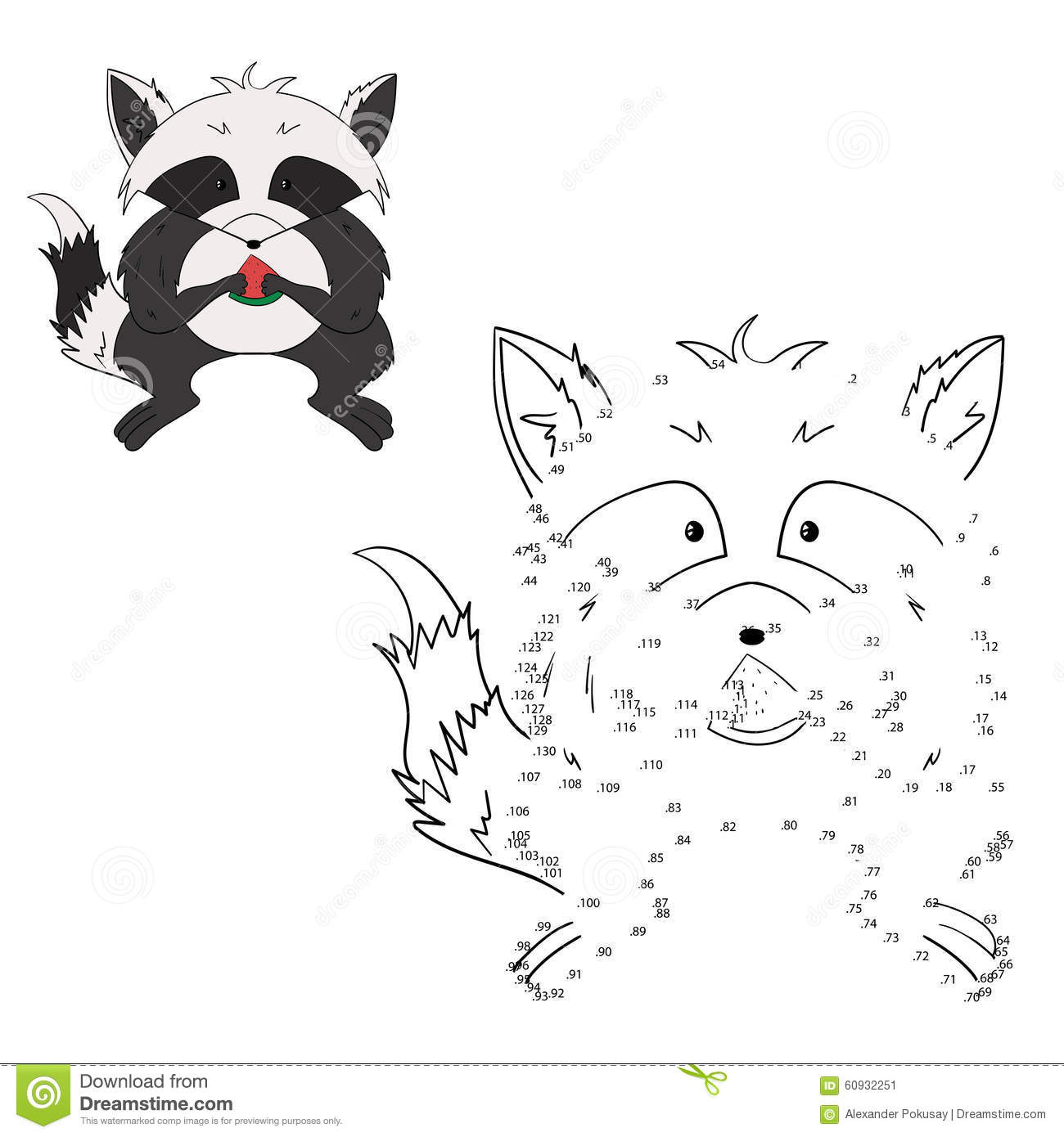 Connect The Dots Game Raccoon Vector Illustration Stock