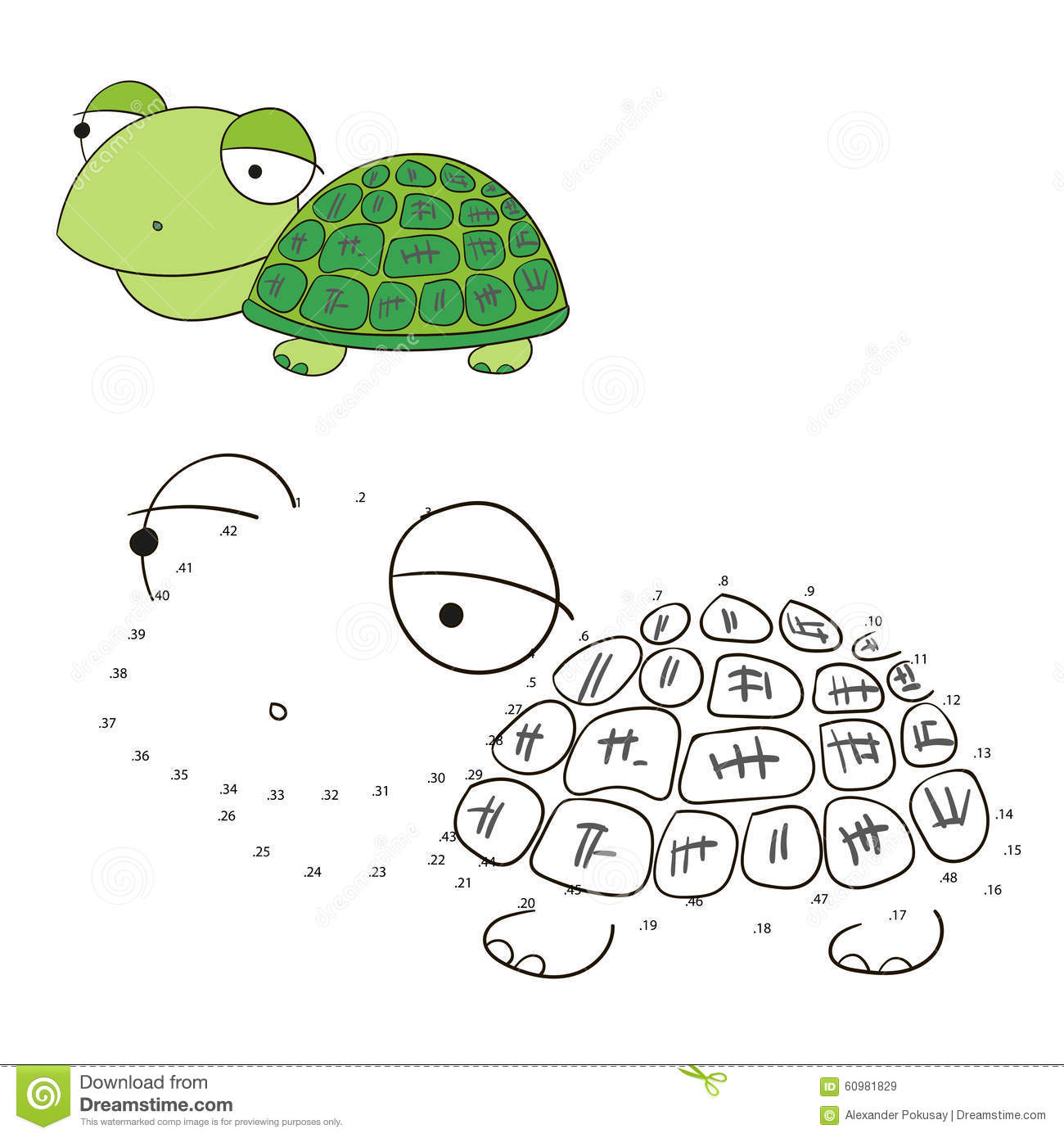 Connect The Dots Game Turtle Vector Illustration Stock Vector