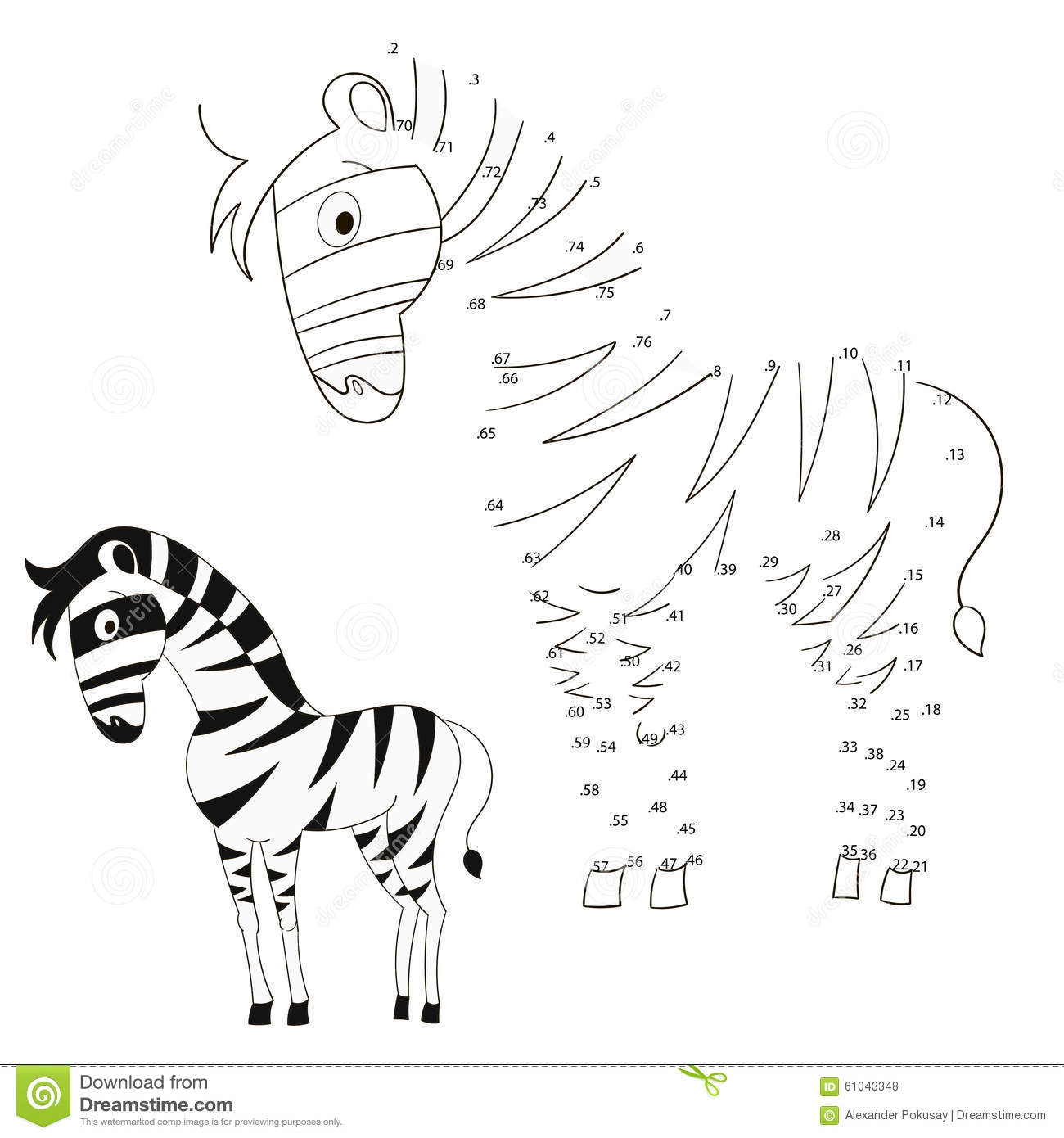 Connect The Dots Game Zebra Vector Illustration Stock