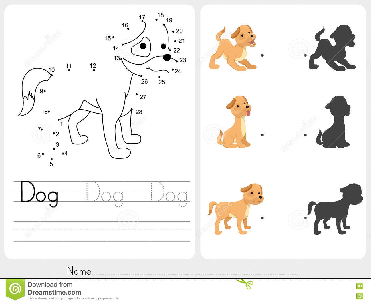 Connect Dots And Match Dog With Shadow Stock Vector