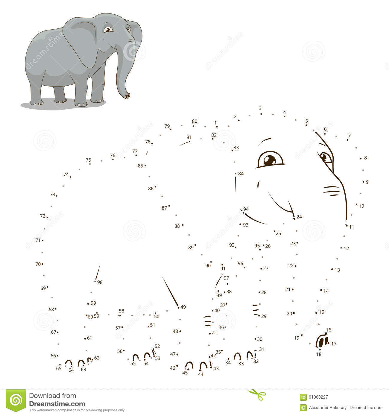 Connect The Dots To Draw Animal Educational Game Stock