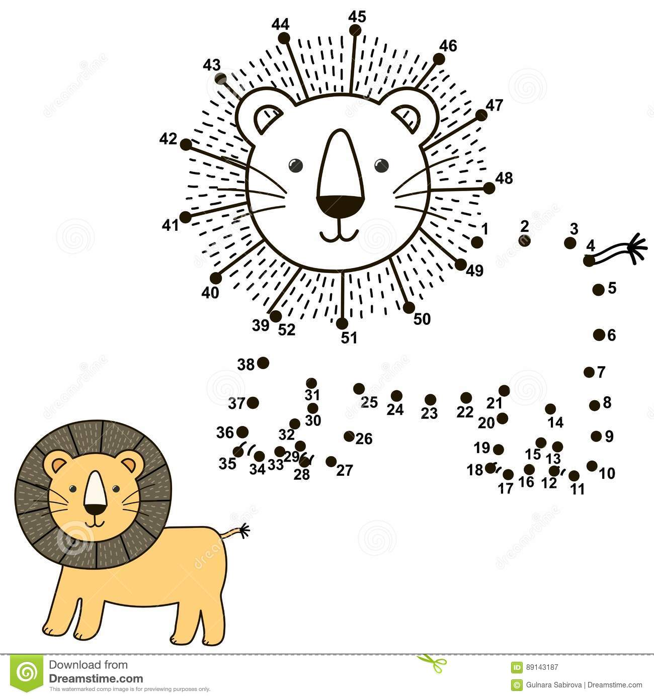 Connect The Dots To Draw The Cute Lion And Color It Vector Illustration Vector Illustration