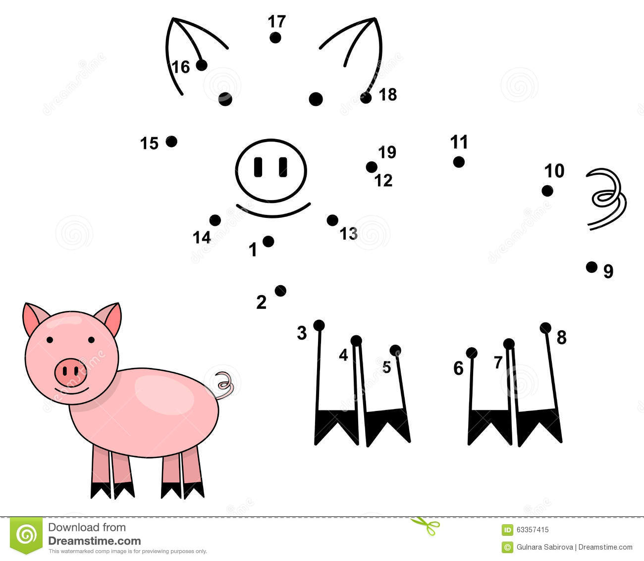 Connect The Dots To Draw The Cute Pig Educational Numbers
