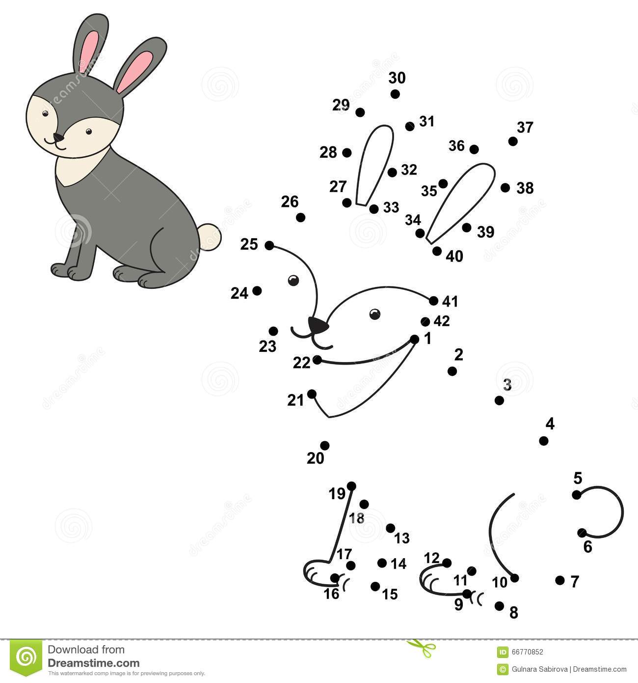 Connect The Dots To Draw The Cute Rabbit And Color It