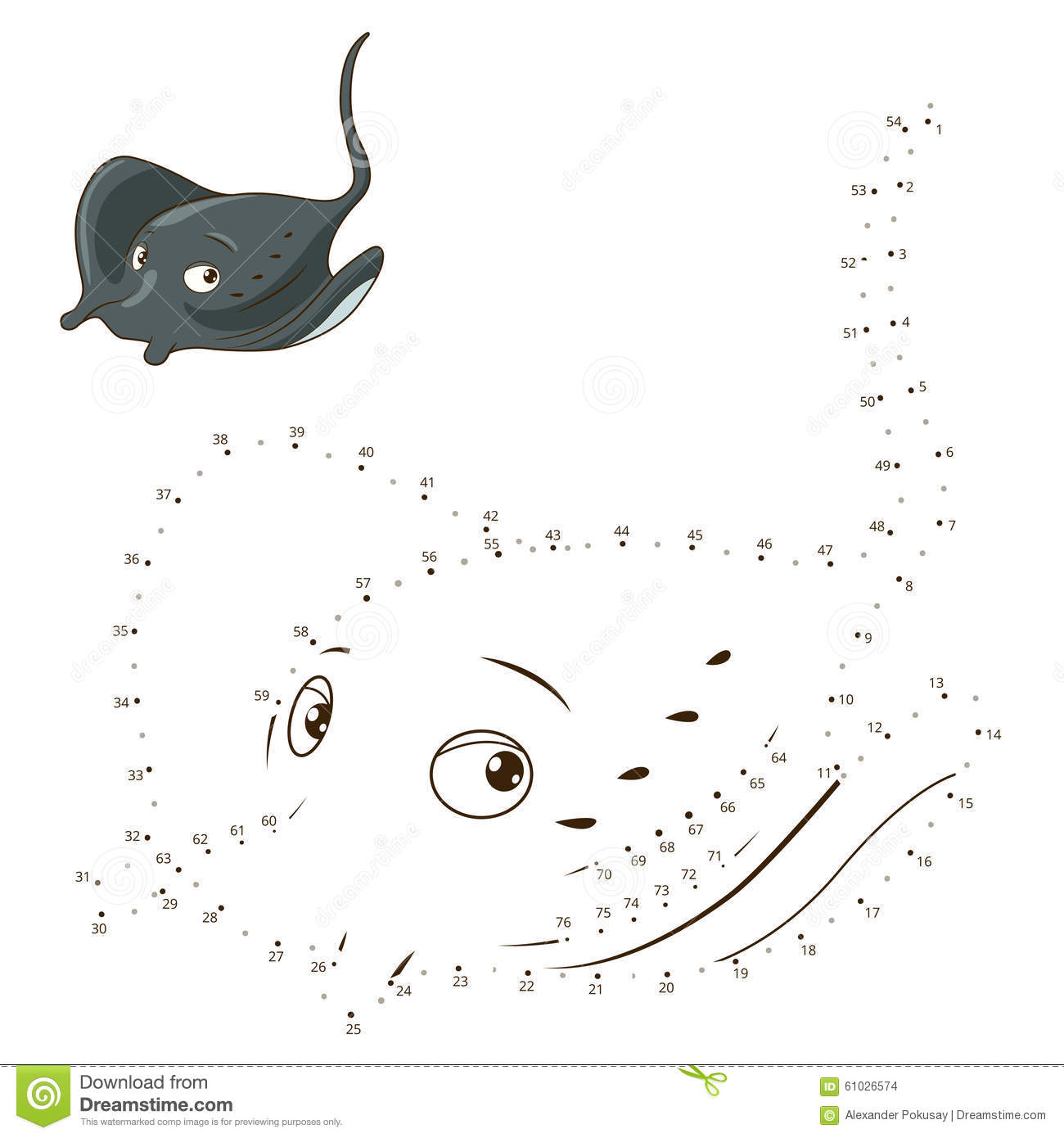 Connect The Dots To Draw Game Stingray Vector Stock Vector