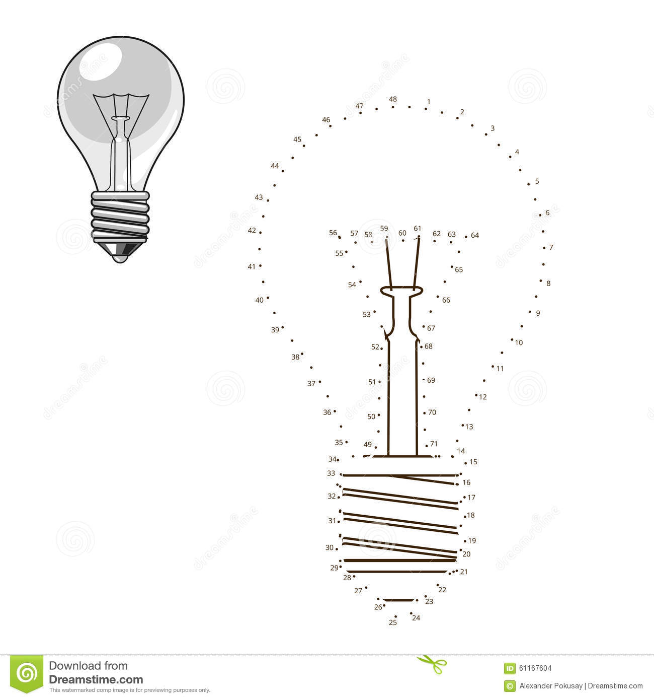 Light Bulb Schematic Auto Electrical Wiring Diagram Incandescent Touch Dimmer Circuit Connect Dots To Draw Lightbulb Educational Game Stock