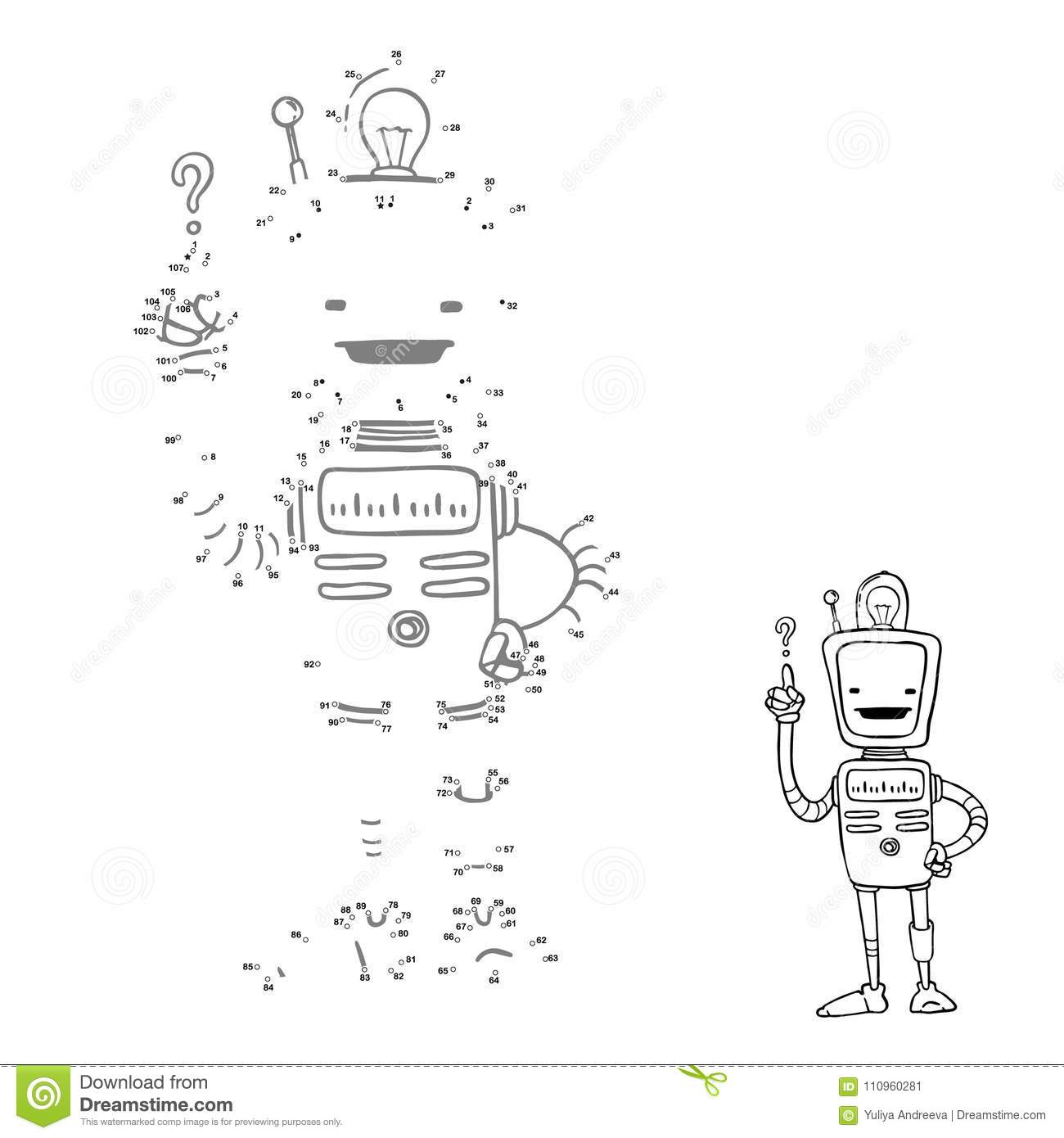 Connect Points Cartoon Robot Picture Vector Character