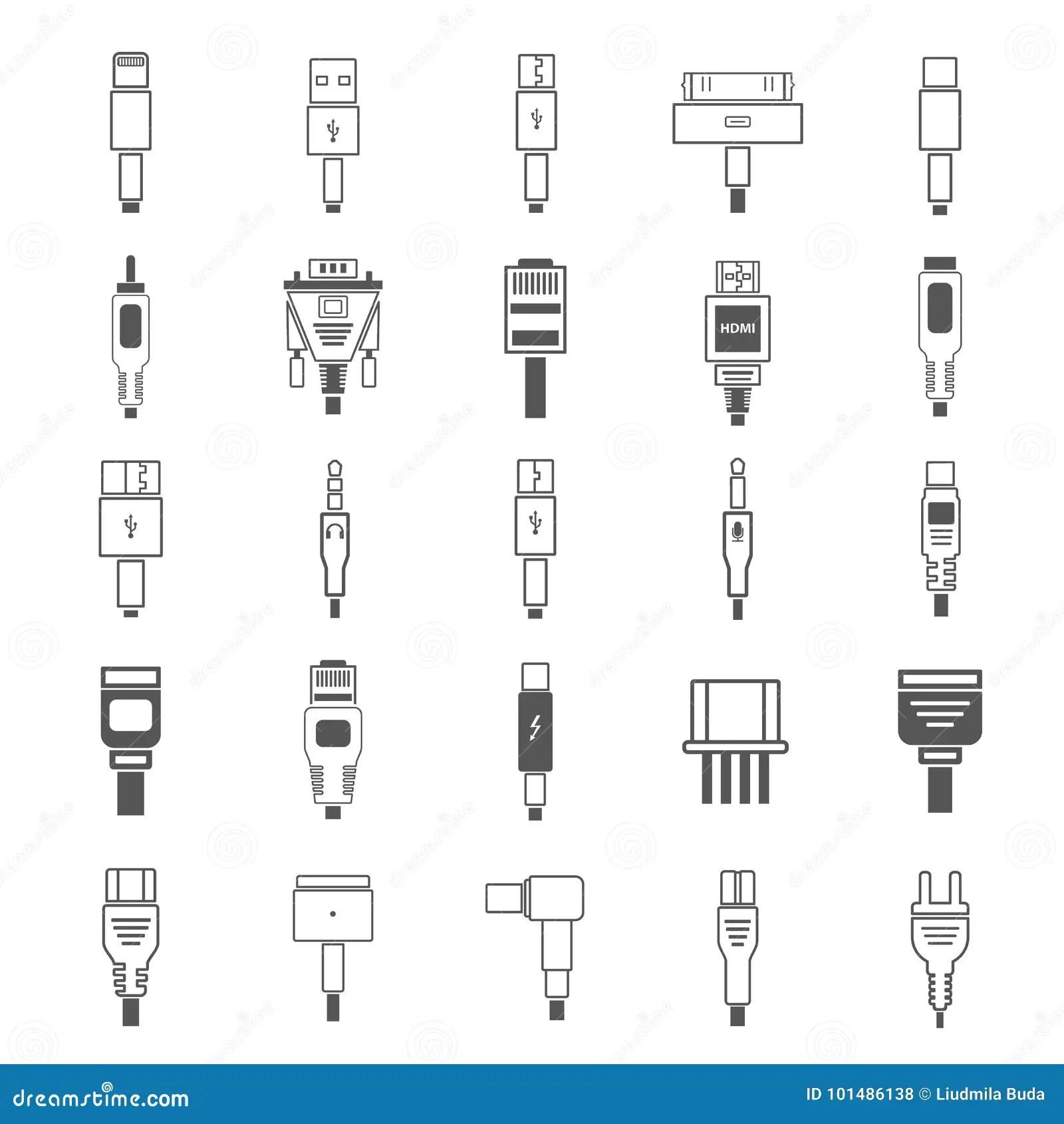 Electric Plug Connectors And Jack Flat Line Icons Set