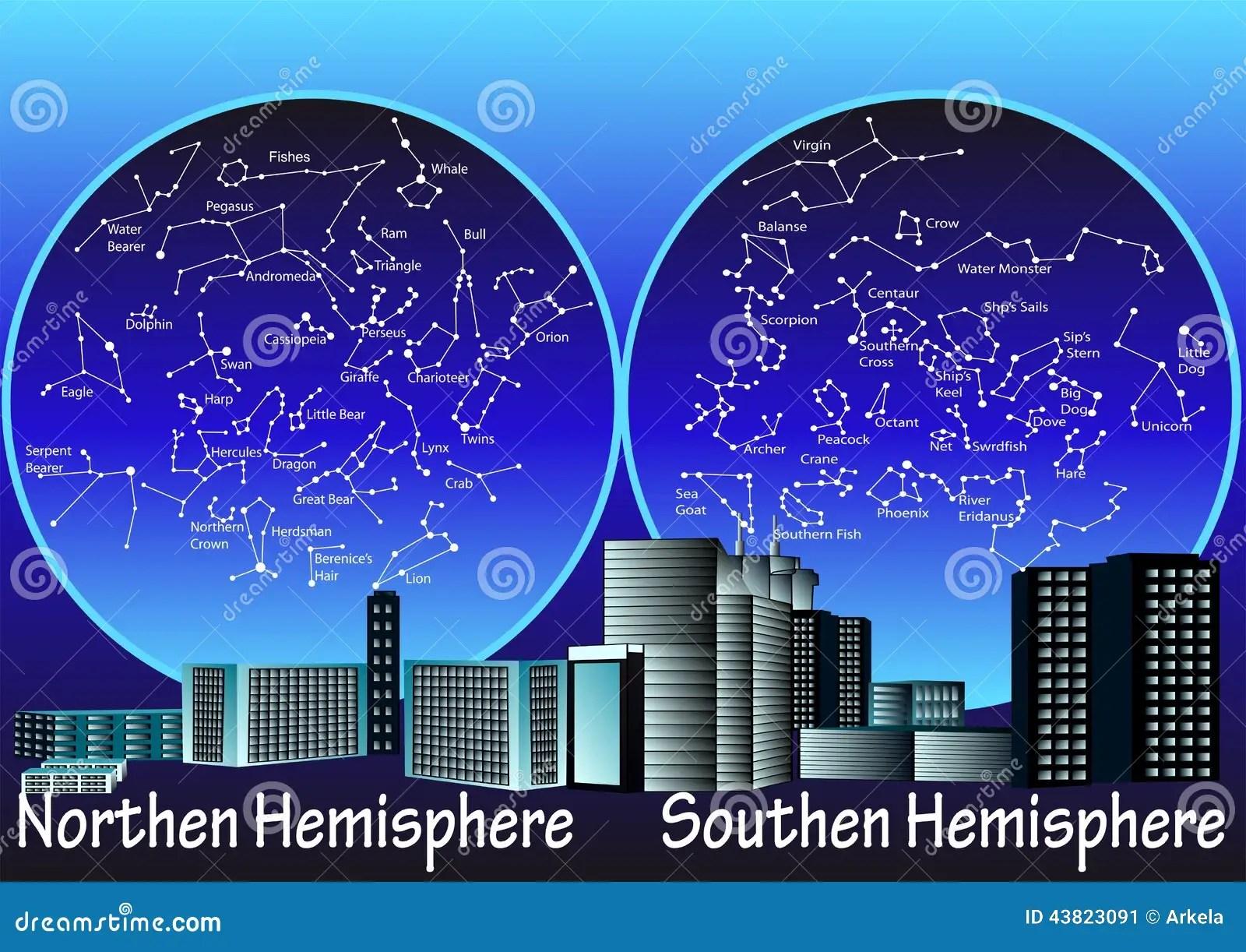 Constellations Of Hemisphere Stock Illustration