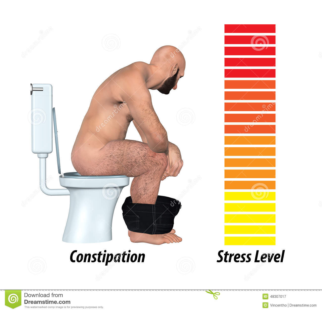 Constipation Anxiety Stress Illustration Stock Photo
