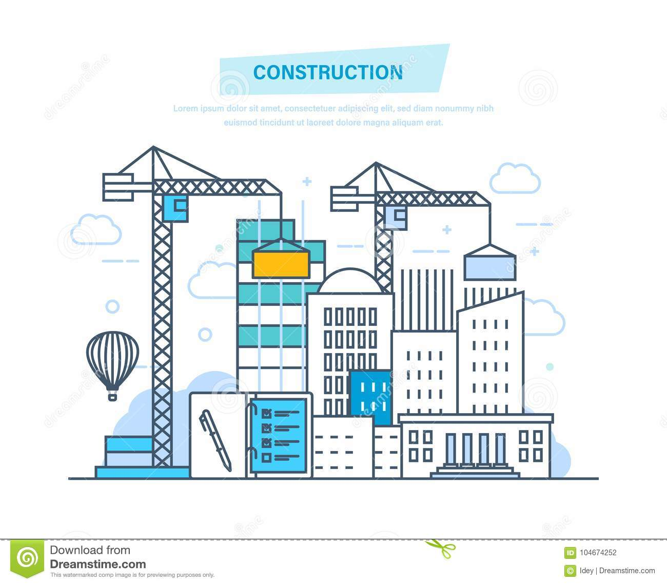 hight resolution of construction building architectural building work process houses with crane