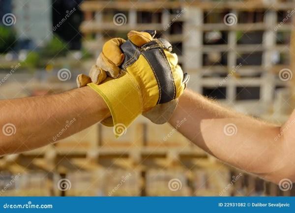 Construction Deal Handshake Stock