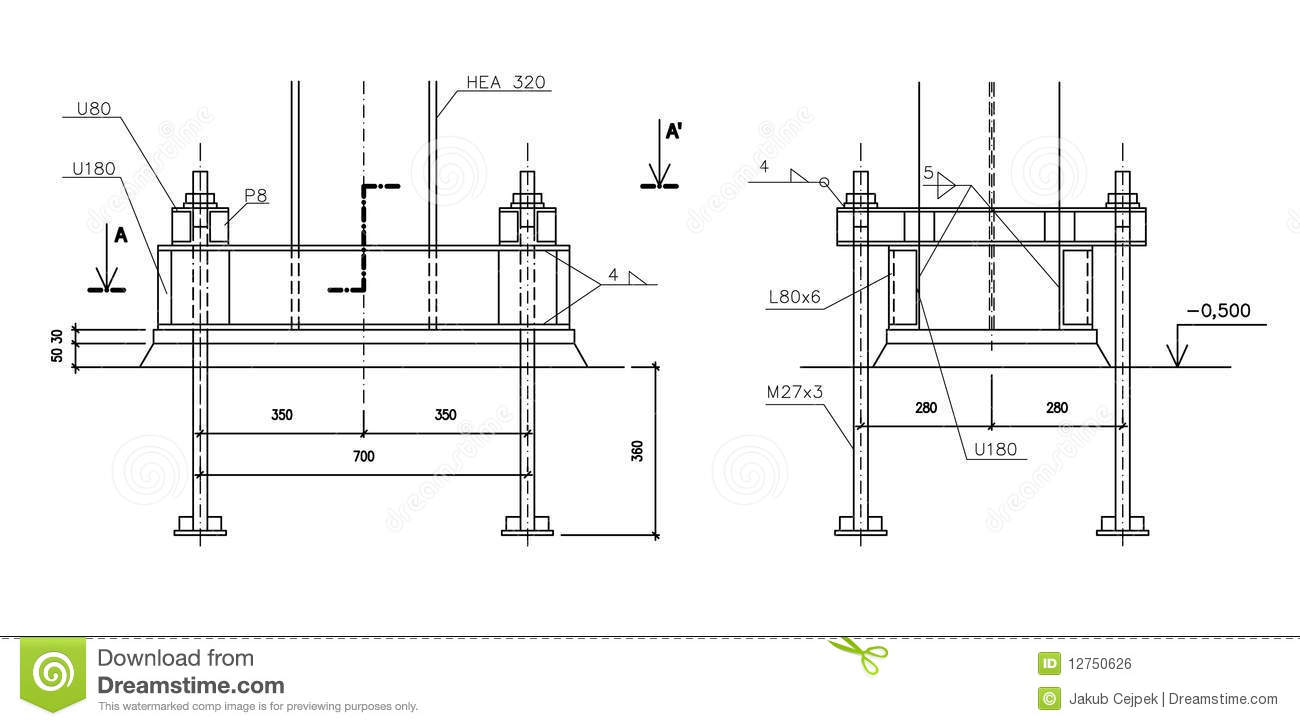 Construction Drawing, Steel Column Anchoring Stock