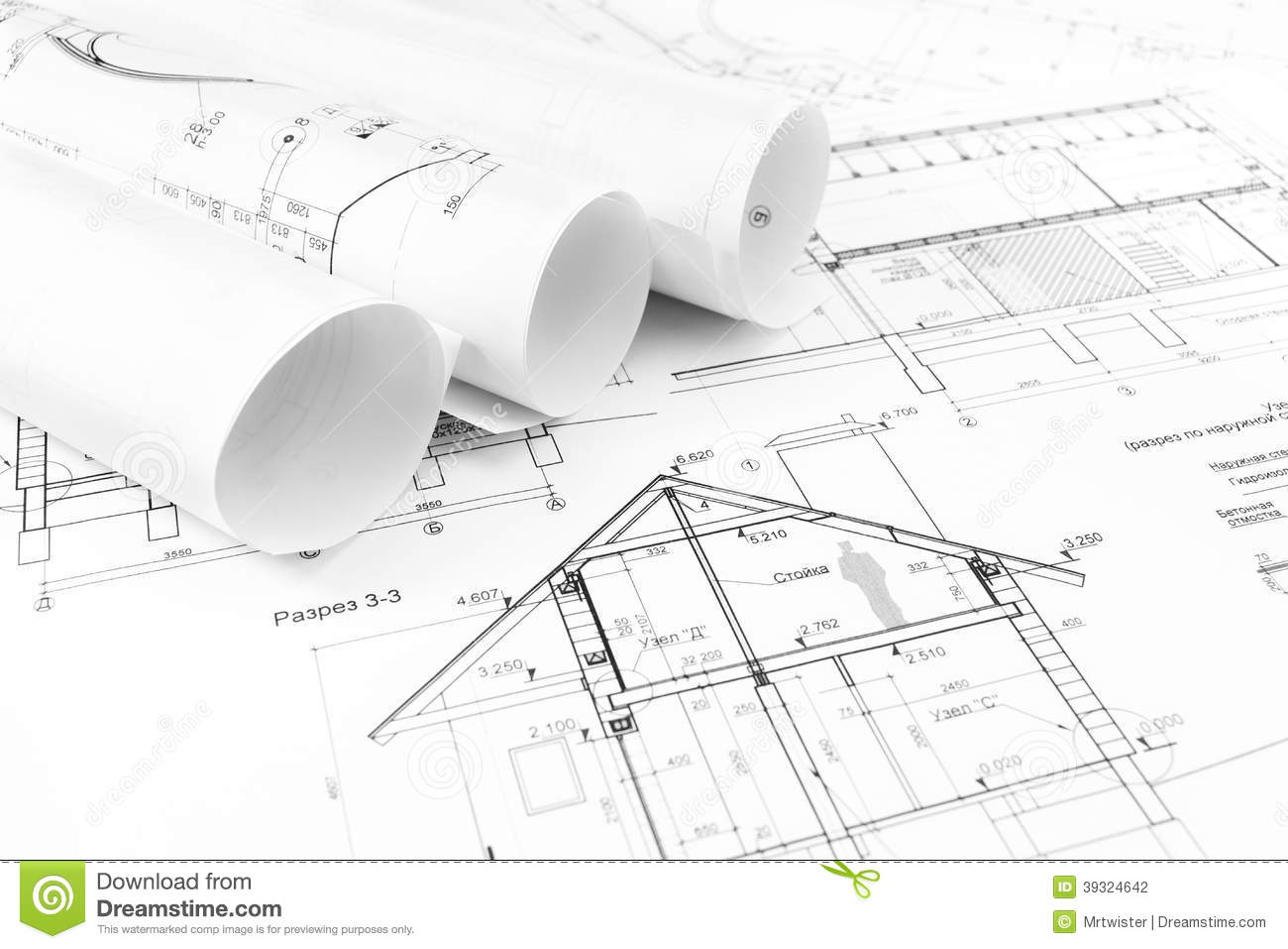 Construction drawings stock photo. Image of house, line