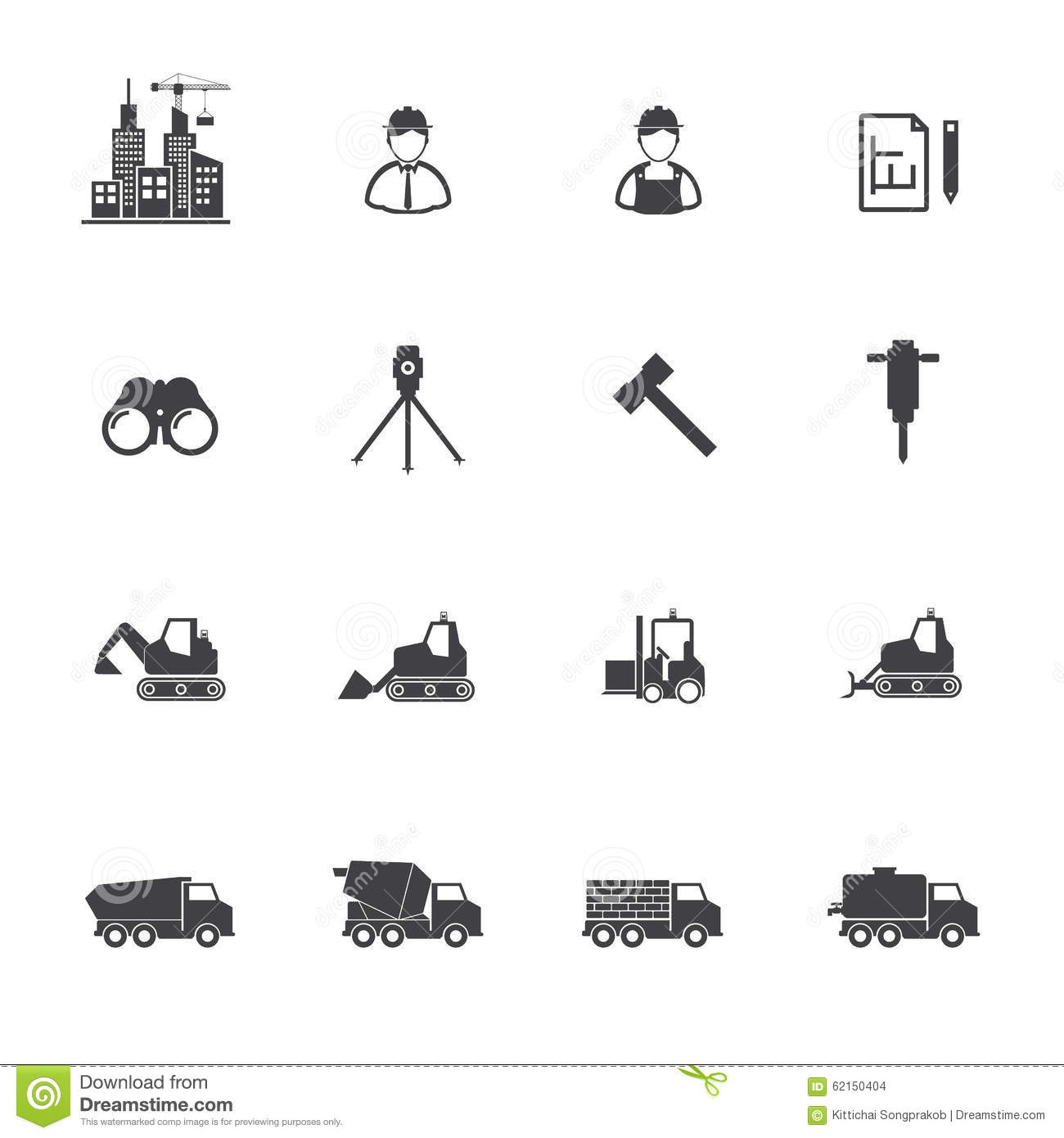Vector Construction Equipment Icons Royalty Free Stock