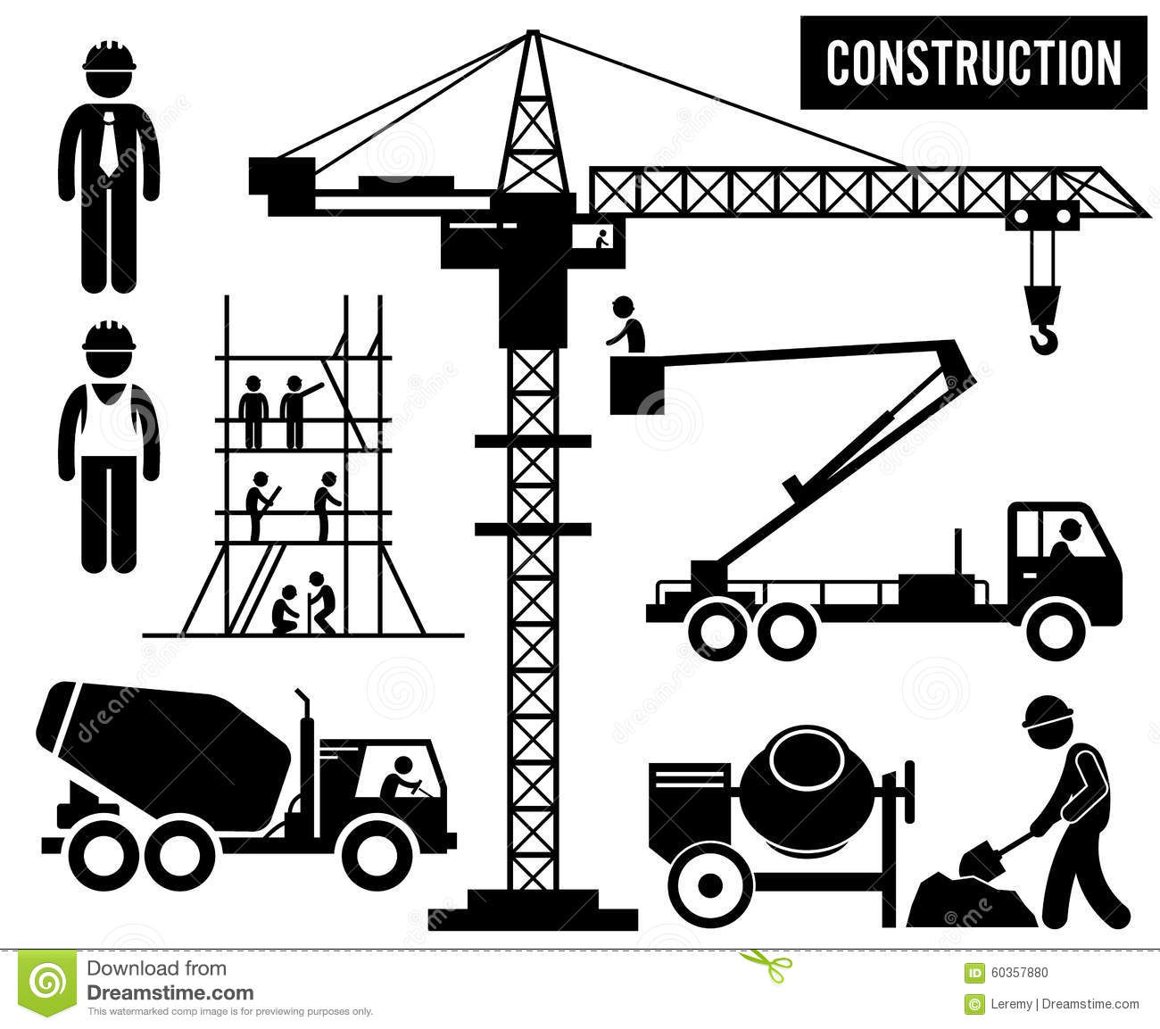 Construction Heavy Industry Clipart Stock Vector