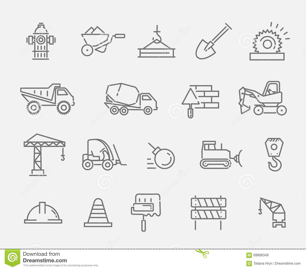 Construction And Industrial Machinery Icon Set Stock