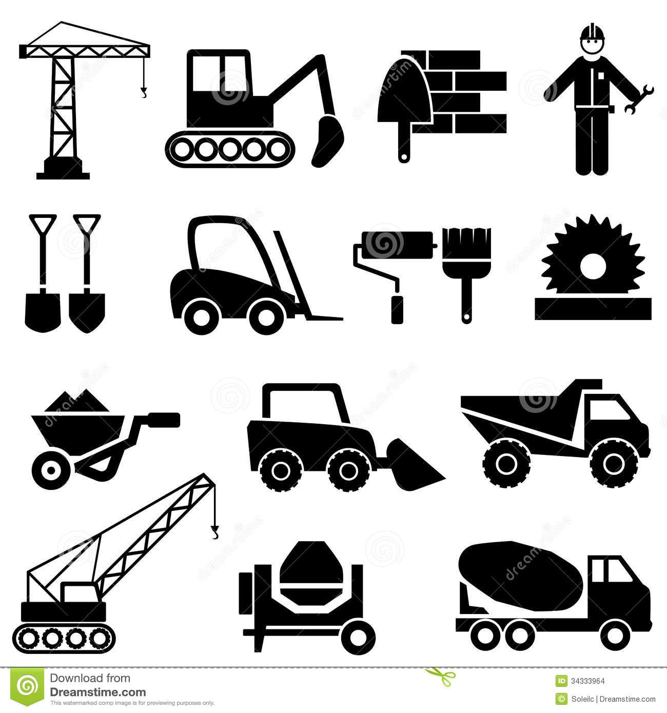 Construction And Industrial Machinery Icons Stock Images