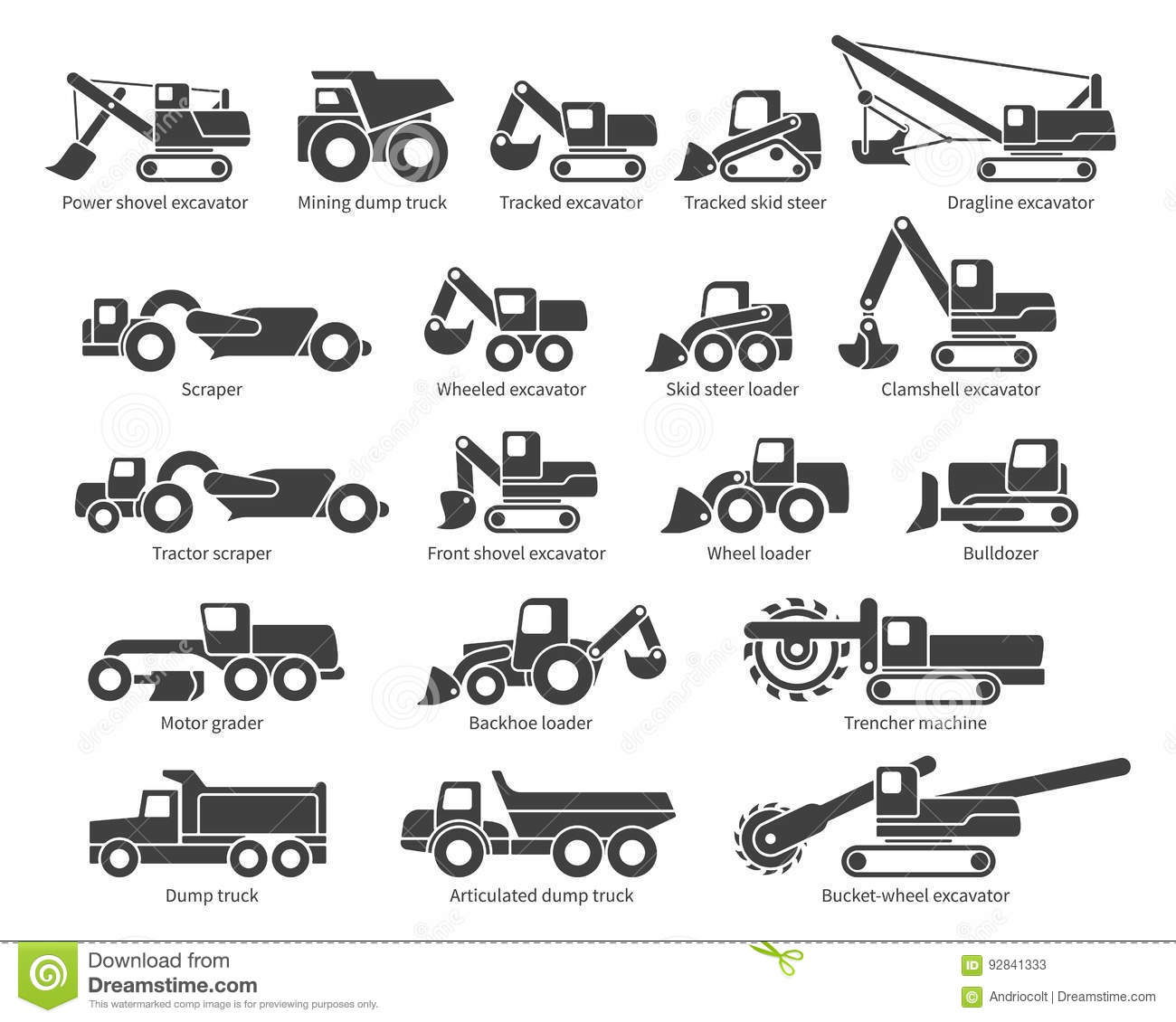 Construction Machinery Vector Icons Set Stock Vector