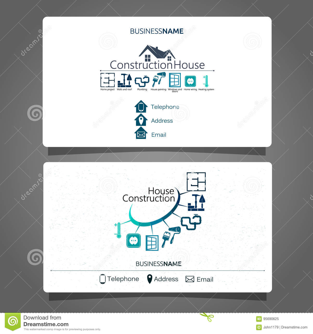 hight resolution of construction and maintenance of the house business card