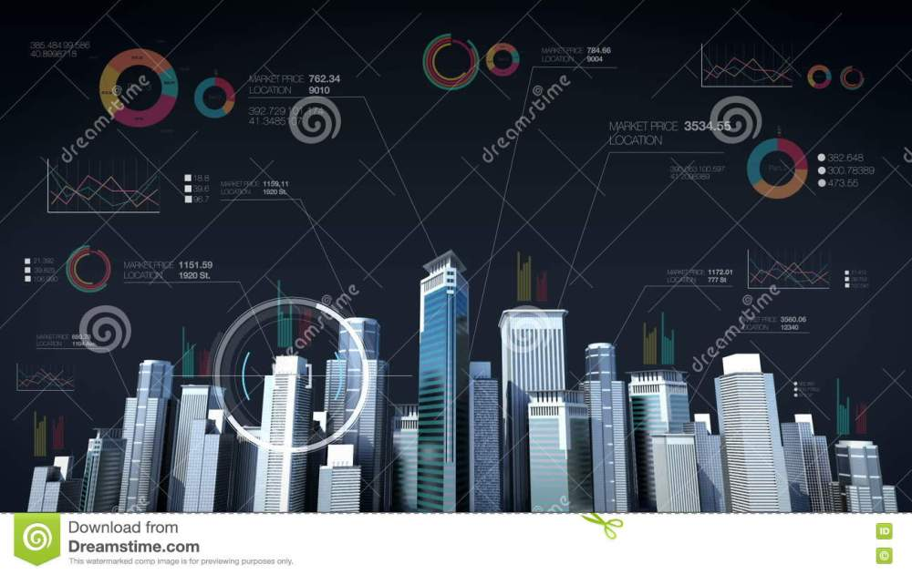 medium resolution of building city skyline and make city with economic chart diagram stock footage video of blue finance 80133124