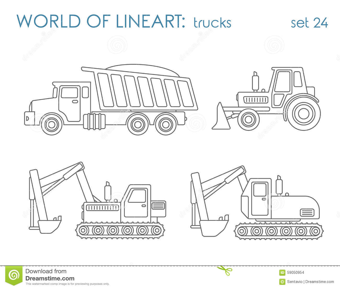Construction Transport Line Art Vector Excavator Tractor