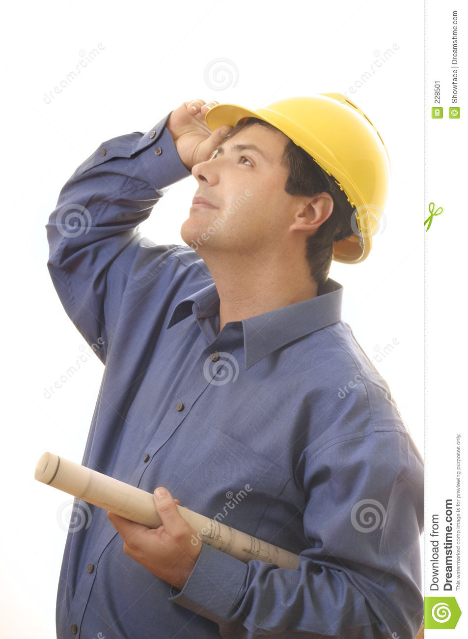 Construction Worker Builder Looking Up Stock Image  Image