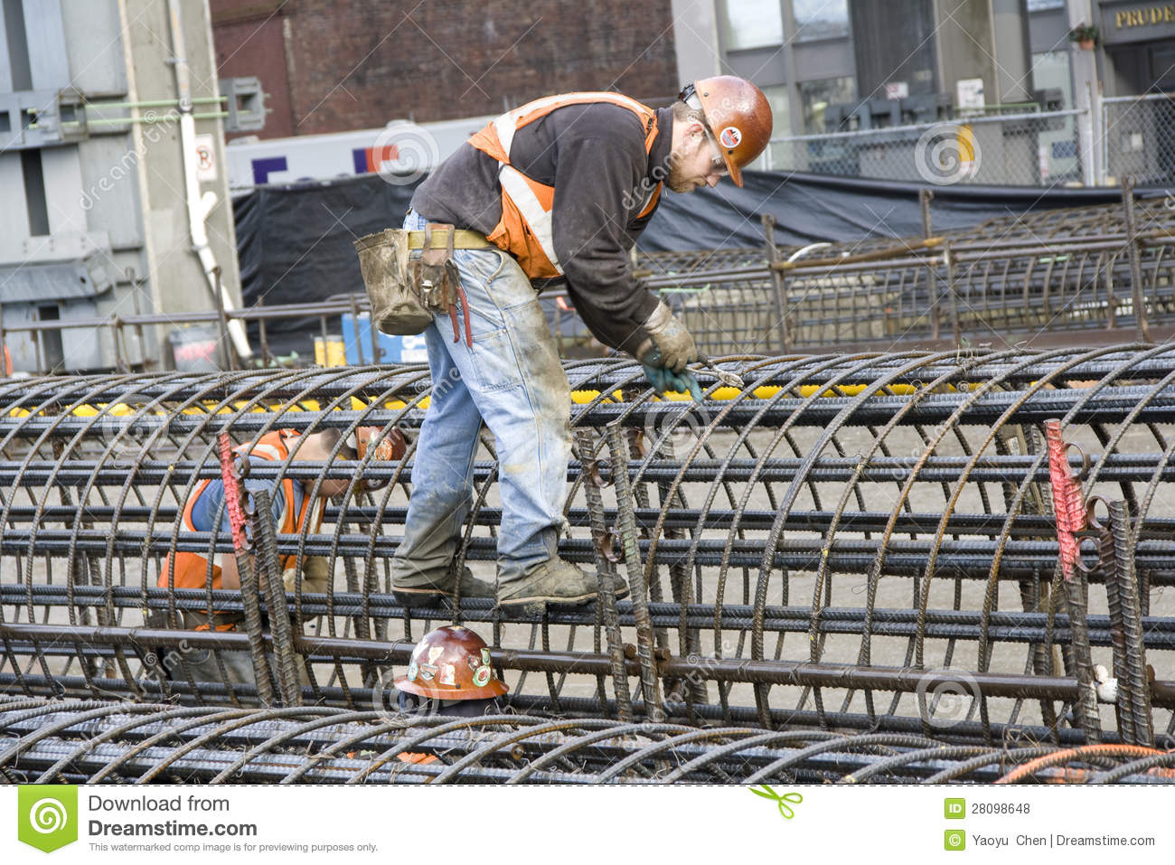 Construction Workers Working Hard Editorial Stock Photo