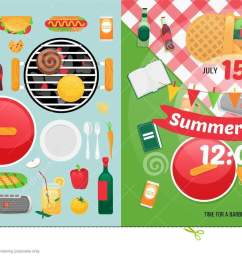 summer food and holiday objects for easy self made invitation card design picnic clipart items [ 1300 x 740 Pixel ]