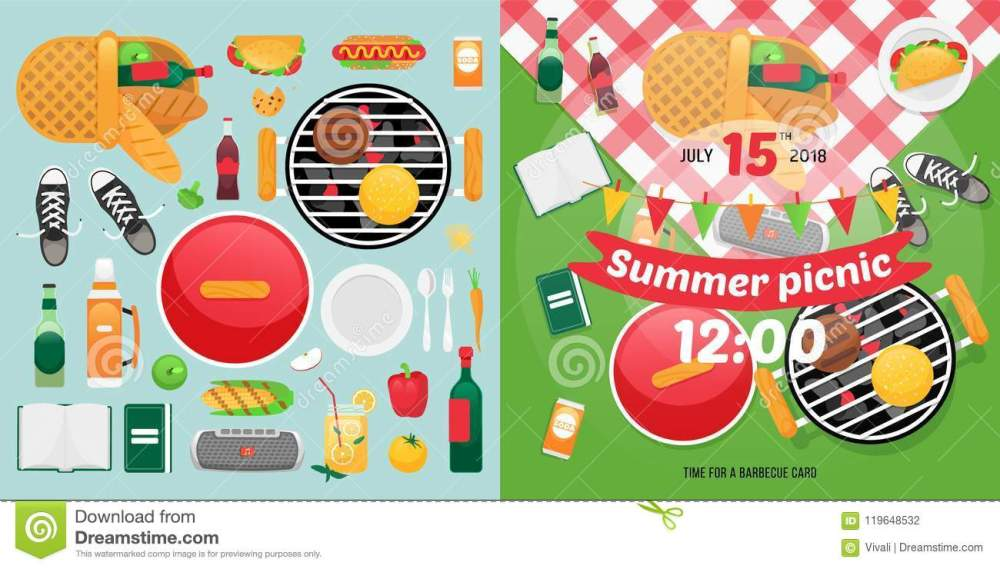 medium resolution of summer food and holiday objects for easy self made invitation card design picnic clipart items