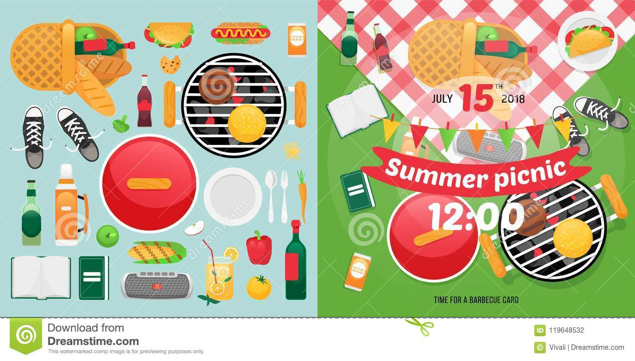 hight resolution of summer food and holiday objects for easy self made invitation card design picnic clipart items