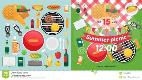 small resolution of summer food and holiday objects for easy self made invitation card design picnic clipart items
