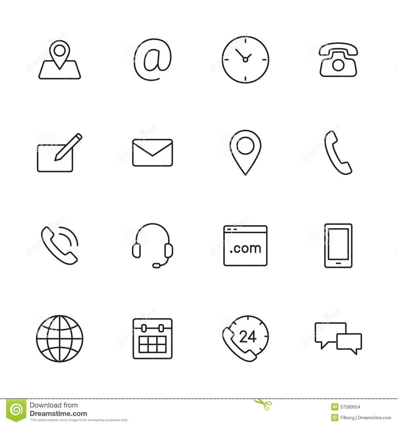 Contact Icons Stock Vector