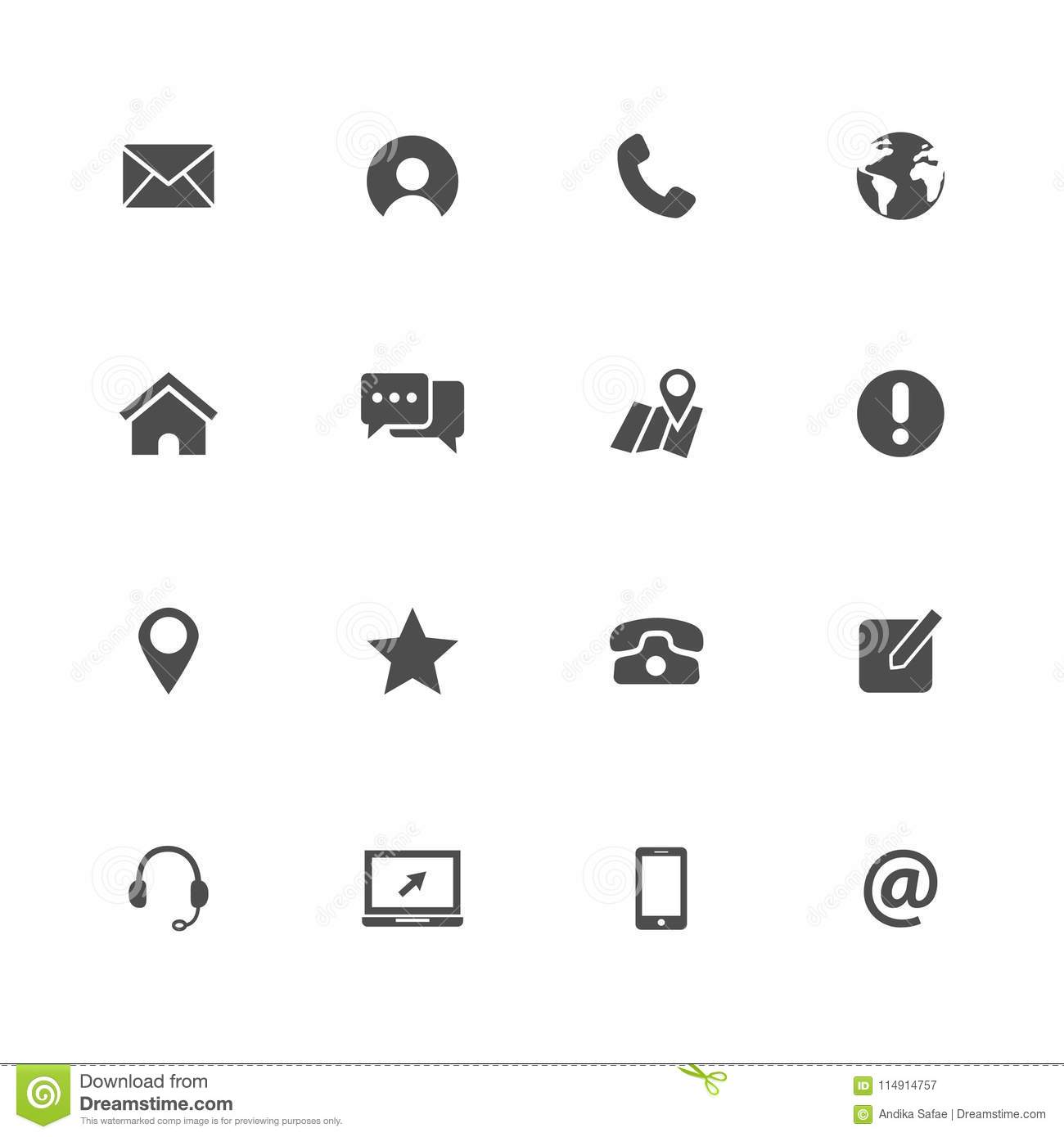 Contact Us Icons Set Vector Illustration Web Icon Stock