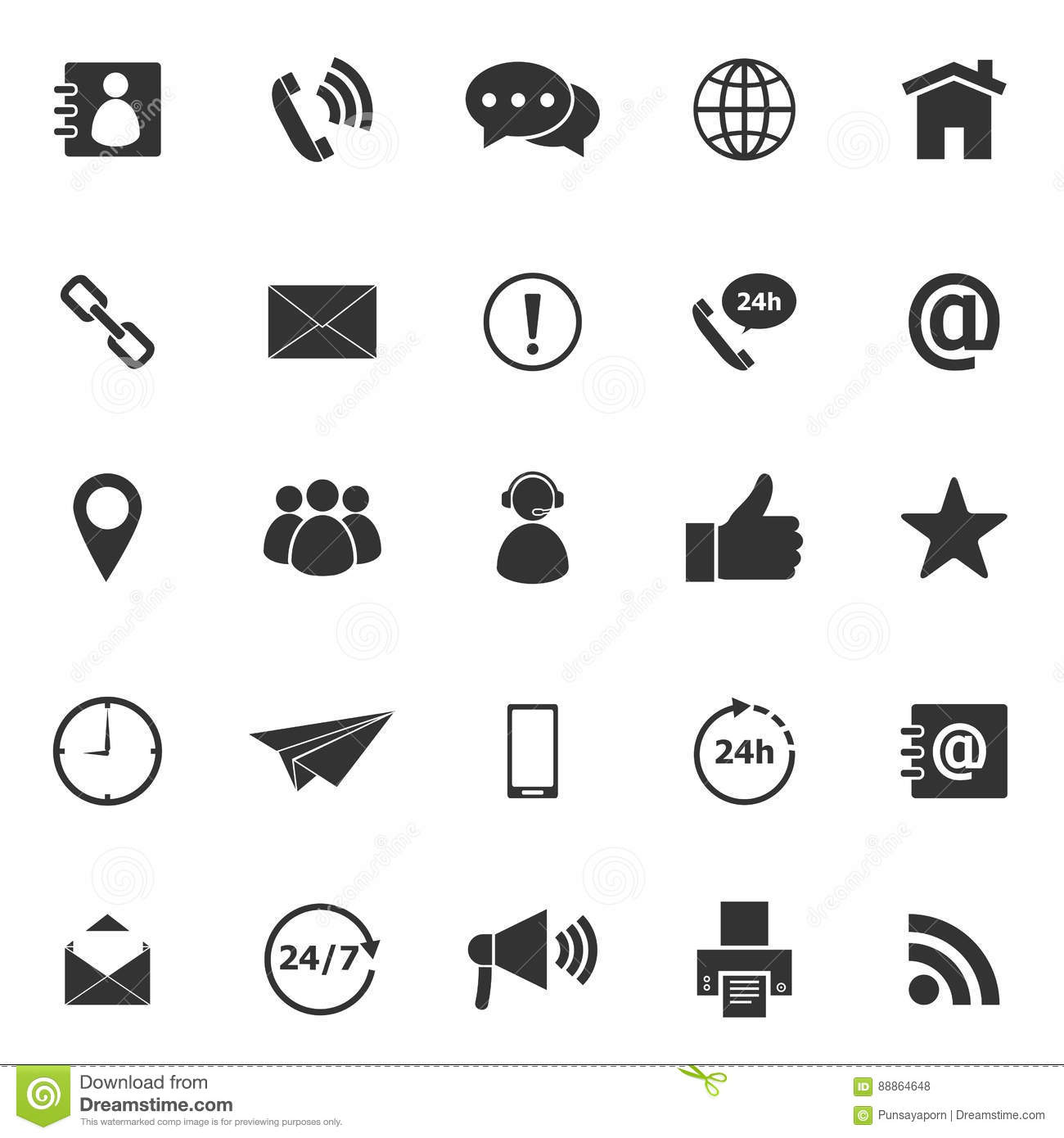 Contact Us Icons On White Background Stock Vector