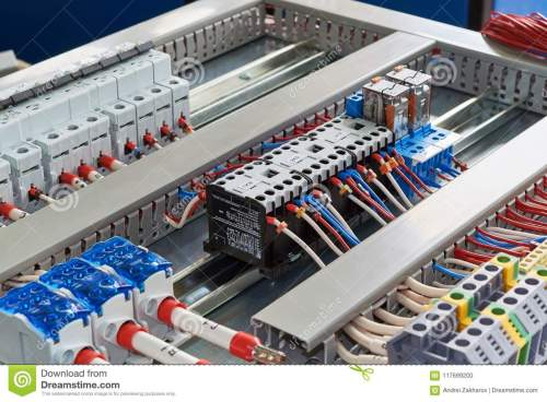 small resolution of contactors relays circuit breakers and terminals in the electrical cabinet