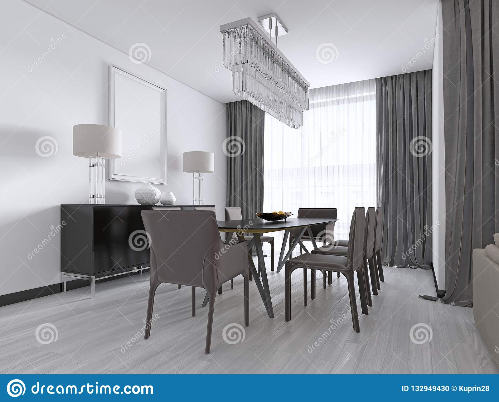 Contemporary Dining Room With A Large Rectangular Dining