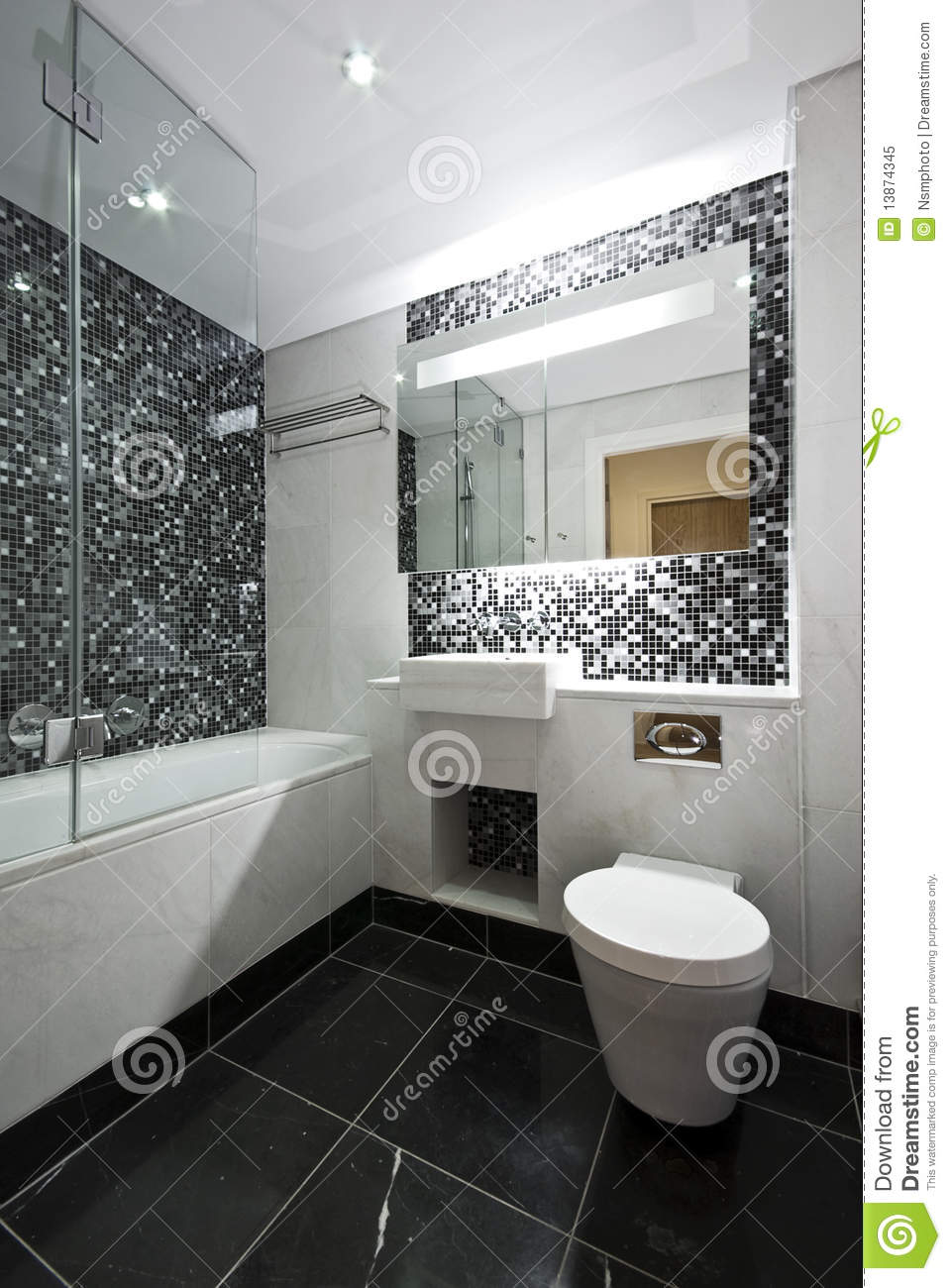 Contemporary Ensuite Bathroom In Black And White Stock