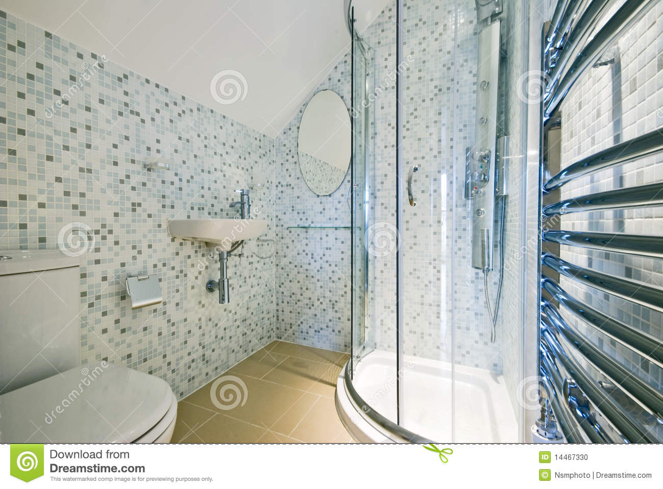 Contemporary Ensuite Bathroom With Shower Corner Stock