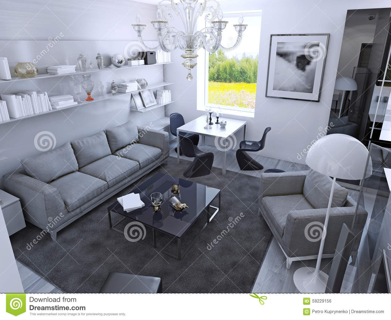 grey carpet in living room interior design for indian style contemporary daylight stock illustration with dining table gothic light furniture wet asphalt color on laminate flooring