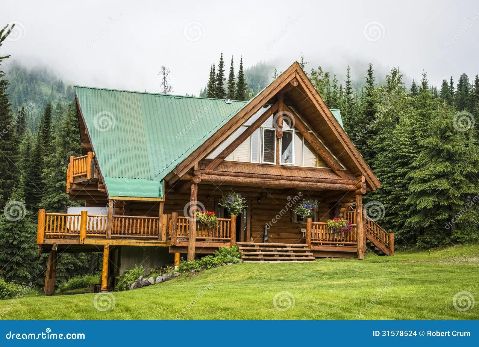 Contemporary Log Cabin Lodge Stock Photo  Image of resort
